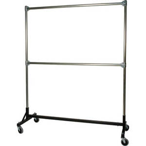 Heavy Duty H rack Clothes Rack Double Rail W 72 Uprights Black 860722