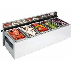 Matfer Bourgeat 5 Compartment Condiment Caddy Countertop Stainless Steel 511510