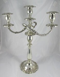 Vintage Fisher Sterling Silver English Rose 3 Light Large Candelabra Candlestick