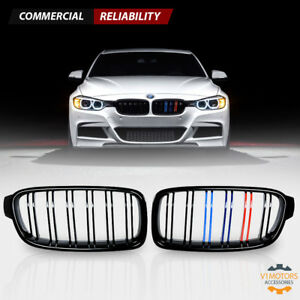For 2012 2018 Bmw F30 328i 335i 4d Front Kidney Grill Grille Gloss Black M color
