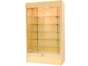Wall Maple Display Show Case Retail Store Fixture W lights Knocked Down wc4m sc