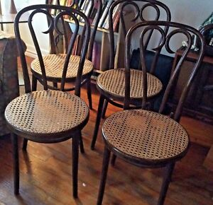 Antique Thonet Radomsko Bentwood Cafe Chairs Made In Poland Vtg Cane Wood Heart