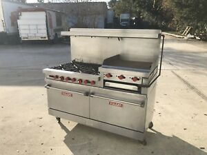 Vulcan Hart Six Burner Range With Raised Griddle And Two Standard Ovens Nat Gas