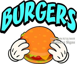 Burgers Decal choose Your Size Concession Food Truck Vinyl Sticker M