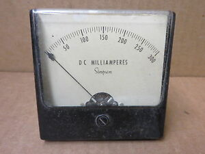 Simpson Panel Meter Dc Milliamps 0 200 48121