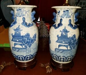 Pair Beautiful Lg Antique Vintage Chinese Blue White Table Lamps 33 W Finial