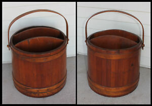 Primitive Wood Firkin Sugar Shaker Bucket Pail Paper Magazine Rack Holder Old