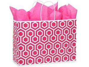 1 Unit Vogue Pink Geo Graphic Bags Recycled Paper Mini pk 16x6x12 Unit Pack 25