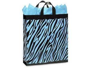 1 Unit Zebra Plastic Bags Bulk 3 Mil Shopping 16x6x16 Unit Pack 100