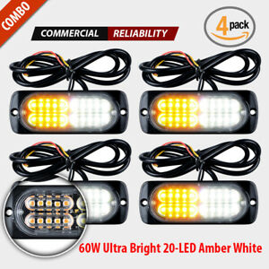 4pcs 20 Led Strobe Lights Emergency White Amber Flashing Warning Beacon 12v 24v