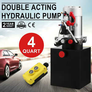4 Quart Single Acting Hydraulic Pump Dump Trailer Power Unit Lift 12v