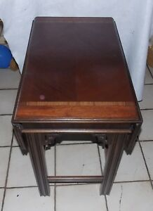 Mid Century Mahogany Inlaid Drop Leaf Table By Lane T772