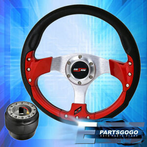 320mm 9 Bolt Red Fusion Style Steering Wheel Godsnow Button For 88 91 Prelude