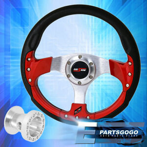 320mm 9 Bolt Red Fusion Style Steering Wheel Godsnow Button For 89 05 Eclipse