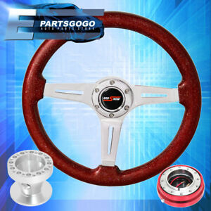 Sparkle Red Wood Steering Wheel Hub Red Slim Quick Release For 89 05 Eclipse