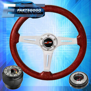 Metallic Red Godsnow Steering Wheel Slim Quick Release Hub For 96 15 Civic