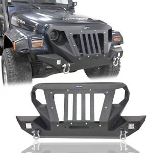 Front Bumper Grille W Winch Plate Led Light Fit Jeep Wrangler Tj 1997 2006