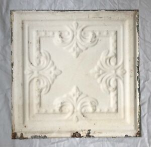 1890 S 12 X 12 Antique Tin Ceiling Tile Ivory Metal Reclaimed Anniversary 10 19