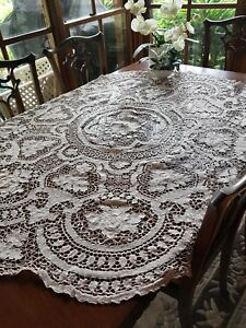 Vintage Italian Ecru Point De Venise Lace Tablecloth Reticella Needlelace 150 Cm