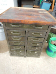 Vintage Industrial Parts Tool Cabinet Workbench With Drawers Butcher Block Top