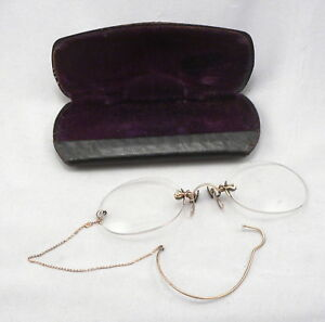 Antique Victorian Pince Nez Eyeglasses Rimless Spectacles Eye Glasses Chain Case