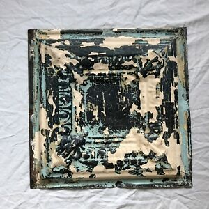 12 X 12 Antique 1890 S Tin Ceiling Tile Reclaimed Metal Verdigris 18 19