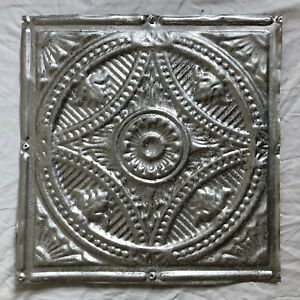 1890 S 12 X 12 Antique Tin Ceiling Tile Silver Metal Reclaimed 21 19