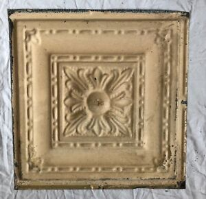 1890 S 12 X 12 Antique Tin Ceiling Tile Tan Metal Reclaimed Anniversary 33 19