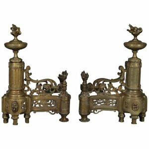 Antique French Louis Xiv Brass Fireplace Urn Scroll And Foliate Chenets