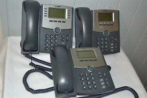 3 Cisco Ip Phone Spa508g 8 Line Voip Phone 2 port Switch Poe Lcd Lot Of 3 Nice
