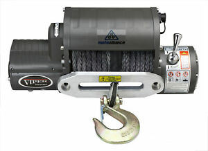 Viper Winch 12000lb Black Synthetic Rope Wireless Remote Integrated Contacto
