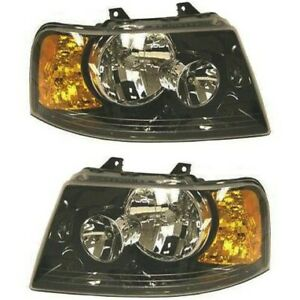 Headlight Set For 2003 2006 Ford Expedition Left And Right Black Housing 2pc