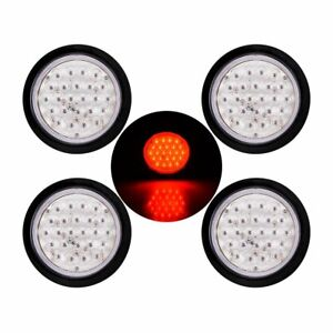 4x 4 Round 24 Led Stop Turn Tail Lights Brake Trailer Truck Grommet Clear Red