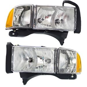 Halogen Headlight Set For 1999 2001 Dodge Ram 1500 Left Right W Bulbs Pair