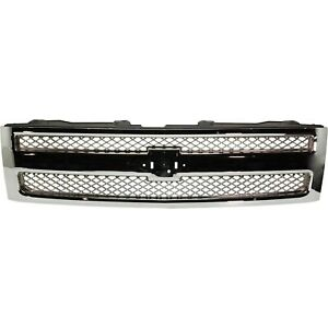 Grille For 2007 2013 Chevrolet Silverado 1500 Chrome Plastic