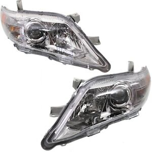 Headlight Set For 2010 2011 Toyota Camry Le Xle Models Chrome Housing Capa 2pc