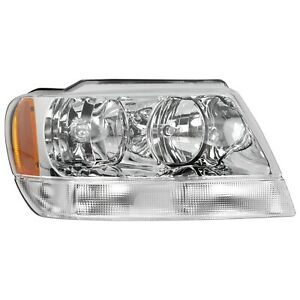 Headlight For 99 2004 Jeep Grand Cherokee Right Chrome Housing With Bulb