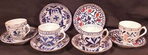 4 Antique Multi Motif Hand Painted Royal Vienna Demi Teacups And Saucers