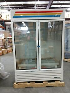 True Gdm 49f hc tsl01 54 Two section Display Freezer W Swinging Doors White