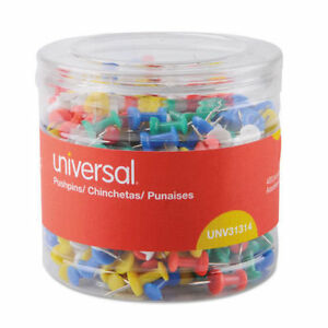 12pk unv31314 colored Push Pins Plastic Assorted 3 8 400 pack