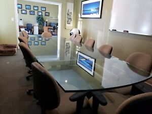 Conference Table Large 12 5 Length Thick Glass Great Condition