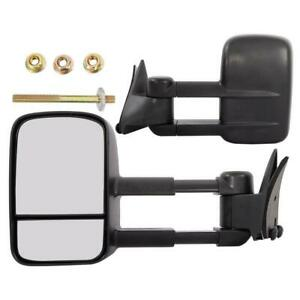 Black For 88 98 Chevy Gmc C K Tahoe Yukon Manual Towing Mirrors Side Tow Pair
