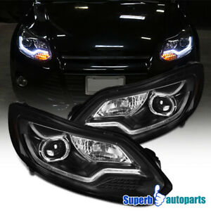 For 2012 2014 Ford Focus Projector Headlights Black W Led Signal Lamps Bar