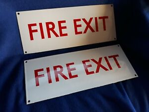 Vintage Industrial Enamel Fire Exit Sign Garage Mancave Wallart Match Door Bell