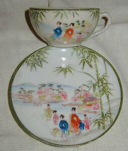 Old Geisha Girl Japanese Porcelain Cup Saucer W Moriage Green Bamboo