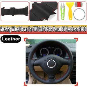 Diy Leather Steering Wheel Cover For Vw Golf 4 Polo Passat B5 Seat Leon 1999 04