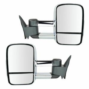 Towing Mirror Manual Chrome Pair Set For Gm C k Pickup Truck Suv New