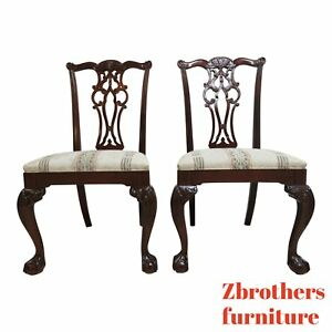 2 Ethan Allen 18th Century Mahogany Chippendale Dining Room Side Chairs B