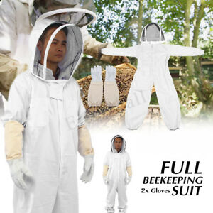 Professional Ventilated Full Body Beekeeping Bee Keeping Suit W Leather Gloves