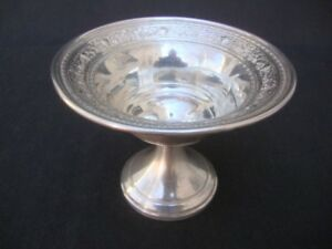 Antique Mhf Sterling Silver Pedestal Bowl Compote Dish M Fred Hirsch Pre Wwii